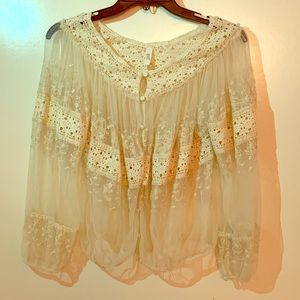 Free people lace button down top. Size XS